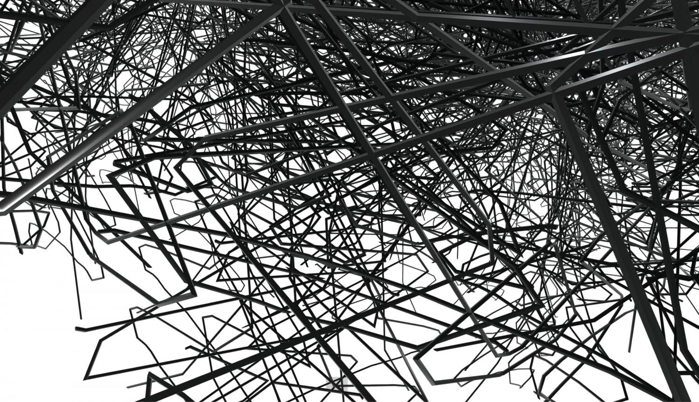 """Detailansicht des Projekts """"Mirror Montage (wire mesh)"""" des Künstlers Gottfried Jäger in Zusammenarbeit mit Denise Albrecht, Marta Beauchamp und Sonja Mense. Gottfried Jäger führte im Jahr 1968 den Begriff """"Generative Fotografie"""" ein. Im Fokus des künstlerischen Programms stand die nicht-gegenständliche Fotografie. Er entwickelte ästhetische Programme für die fotografische Bild-Erzeugung, die der frühen generativen computerbasierten Kunst vorausgingen und sich dann Seite an Seite mit ihr entwickelten. Für die digitale Ausstellung """"In This Layered World, All Perception Is Real"""" hat Jäger in Zusammenarbeit mit Denise Albrecht, Marta Beauchamp und Sonja Mense, seine frühen, kaum gezeigten Bildspiegelmontagen erstmals in den virtuellen Raum übersetzt."""
