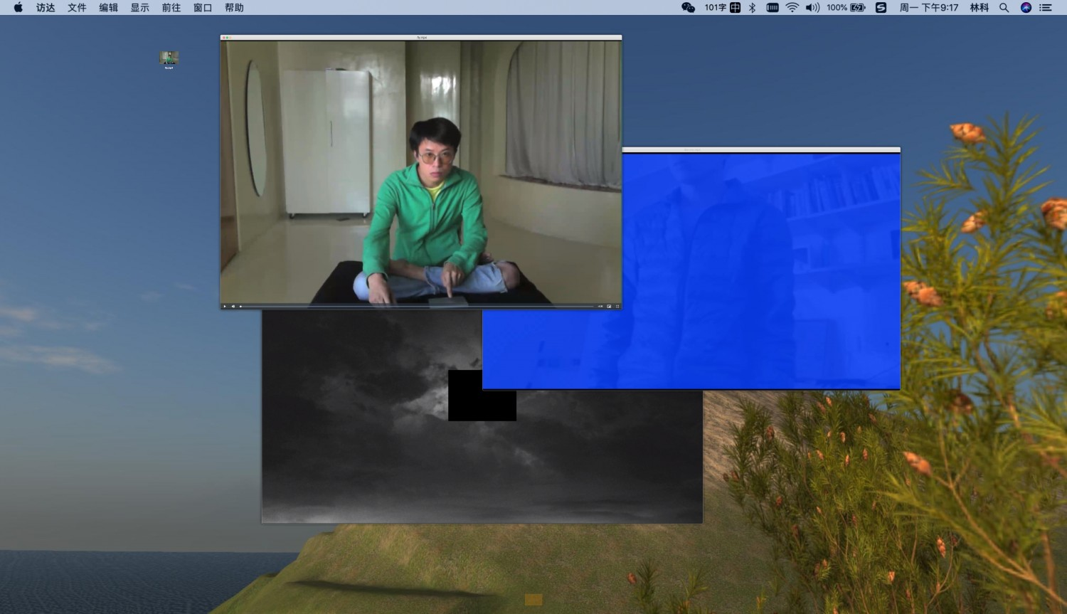 """Screenshot of the project page """"Desktop"""" of the artist Lin Ke. The videos in his work """"Desktop"""" refer to stroking over a touch screen, clicking with the mouse and other tactile activities when using digital devices. Here the real and virtual worlds intertwine: the videos blink at the viewer, gesticulate and create the illusion of interacting with files, dancing with them or moving the mouse pointer as if it were flying over the screen. Lin Ke's performances float between the inner world of the computer and the physical outside world, connecting both with his own physical presence."""
