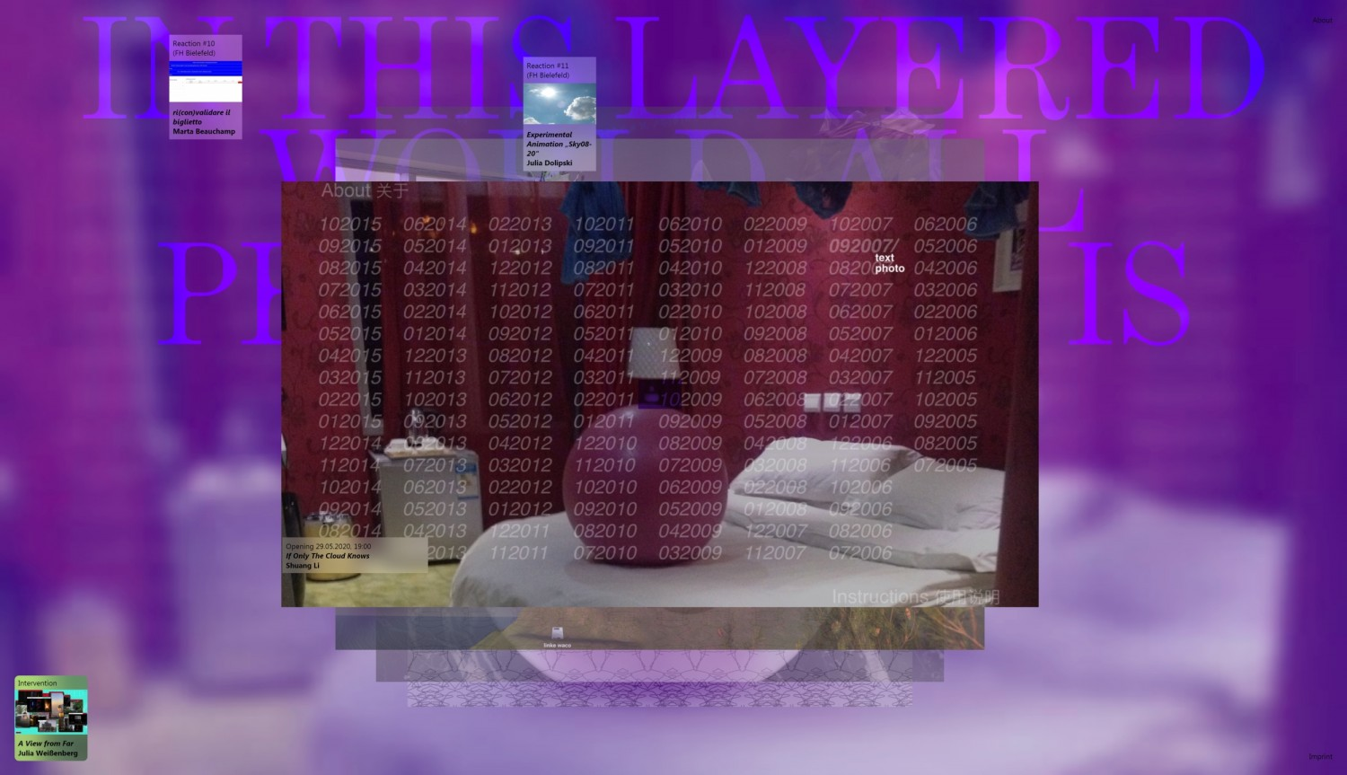 "Screenshot of the project page ""If Only The Cloud Knows"" by the artist Shuang Li. In 2018, Shuang Li made her entire collection of text messages and photos from 2005 to 2015 available online and deleted the files from her private backup storage. Visitors to the website are invited to delete images or texts and in return write a note to the artist."