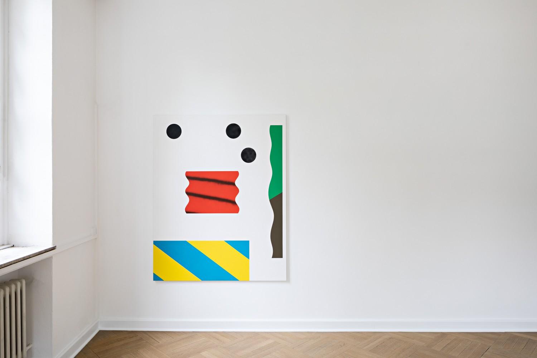 Drei Werke Samuel Richardots, die jeweils verschiedene Schichten aufweisen. Davon lassen einige Elemente den Pinselduktus erkennen, während andere wie maschinell appliziert wirken.