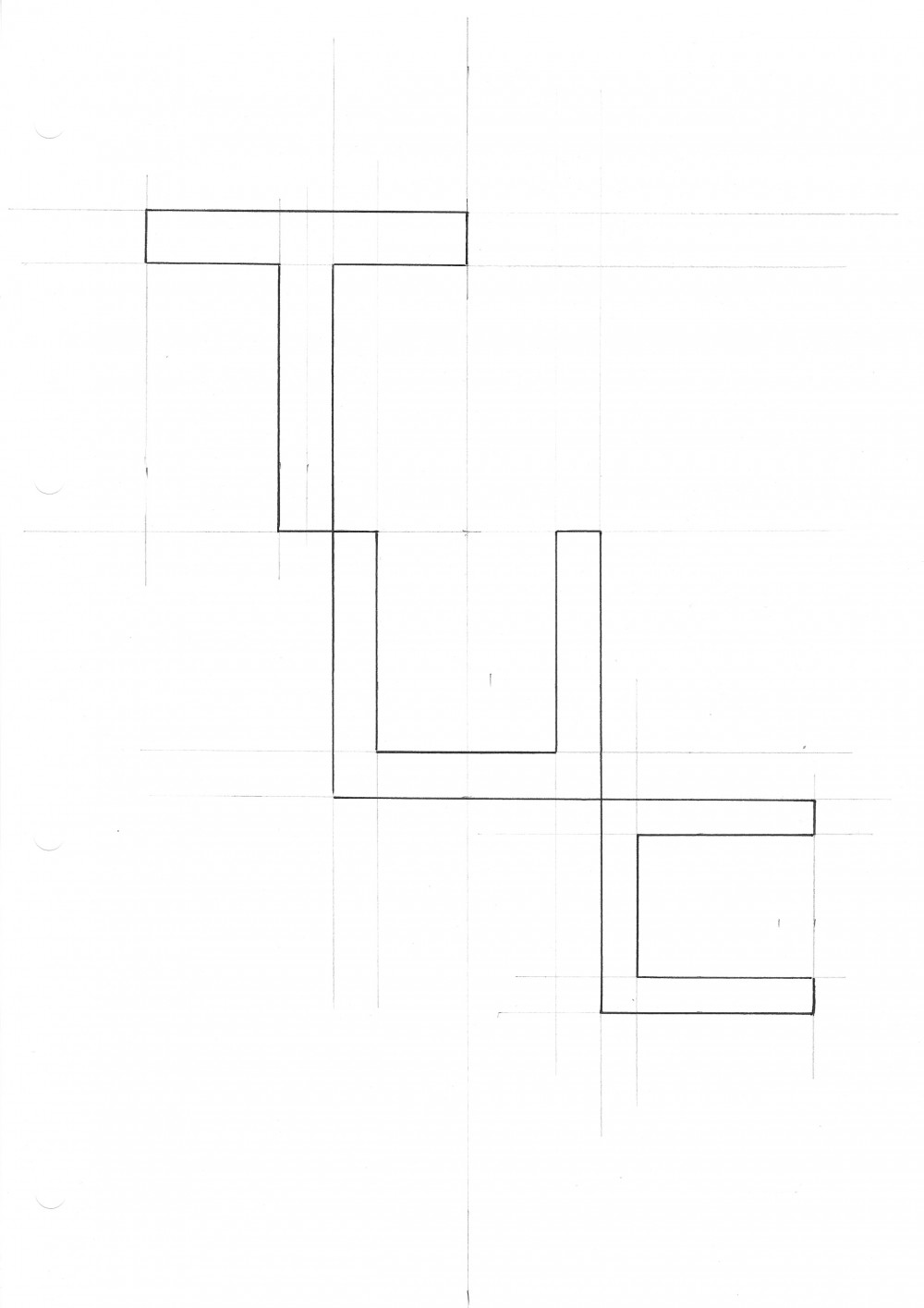 Graphic drawing of the letters T, U and C, which form the title of the exhibition and stand for Turnstile Utter Chaos.