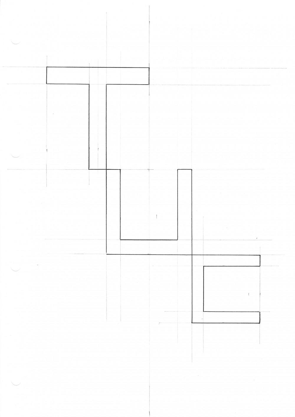 Grafische Zeichnung der Buchstaben T, U und C, die den Titel der Ausstellung bilden und für Turnstile Utter Chaos stehen.